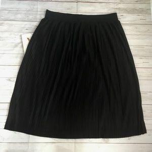 imnyc womens l black pleated skirt midi feminine t